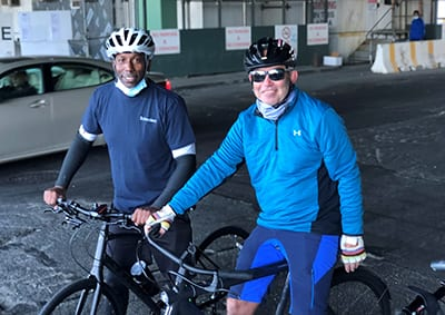 Employees from UNCF New York sponsor, Schroders, bike riding to support the Virtual Walk for Education.