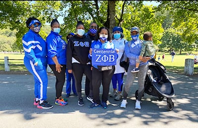 Members of Zeta Phi Beta Sorority, Incorporated enjoying a walk in the park to support the UNCF Virtual Walk for Education.