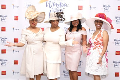 Left to Right: Tina Bonner-Henry, co-chair, Oprah Winfrey, Tiffany Jones and Sonja P. Nichols, co-chair