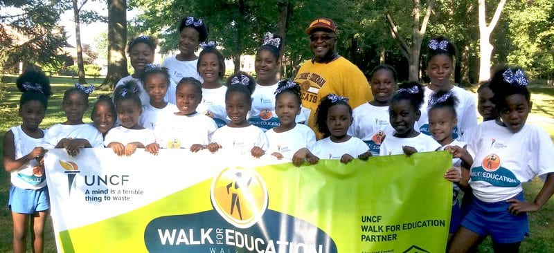 Group shot of young children during an UNCF Walk Education