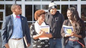 Four Philander Smith students walking together