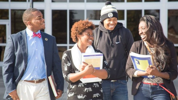 Four Philander Smith students walking together