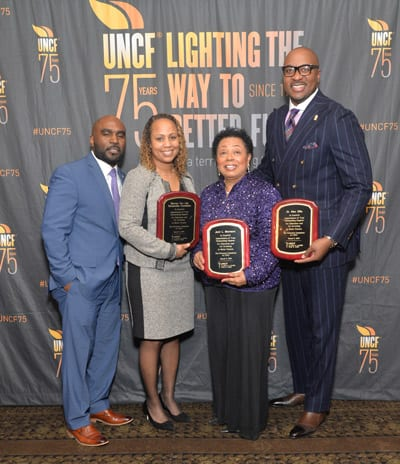 Event Honorees ( from left to right : Nick & Rebekah Solomon, Warrior for Life Scholarship Fund; Jerri Morrison, Young Scholars' Institute; Dr. Alex Ellis, Tied to Greatness)