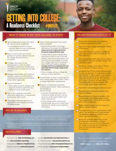 UNCF Getting into College Readiness Checklist Preview