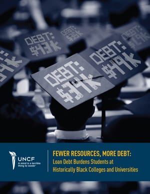 UNCF Fewer Resources, More Debt Report Cover
