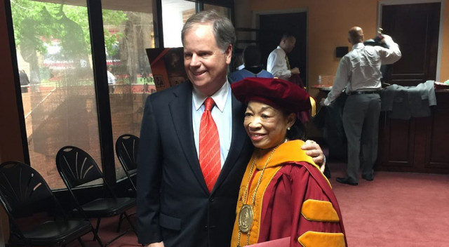 Sen. Doug Jones with Dr. Lily D. McNair, president of Tuskegee University