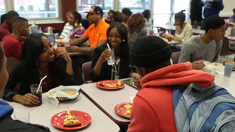 students in shaw dining room
