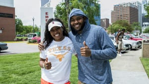 Two Shaw students giving the thumbs up