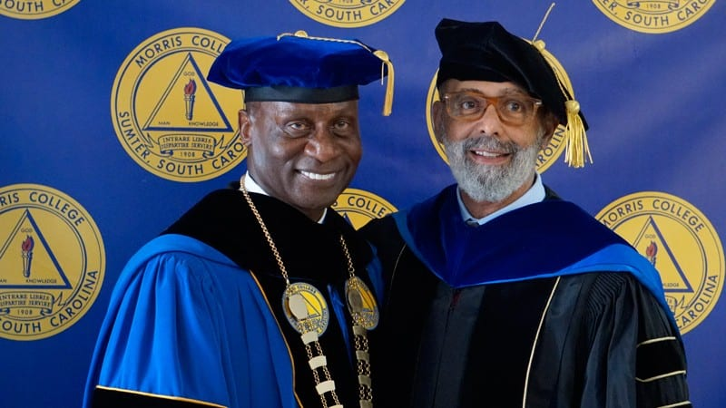 President Staggers with UNCF President and CEO Dr. Michael Lomax.