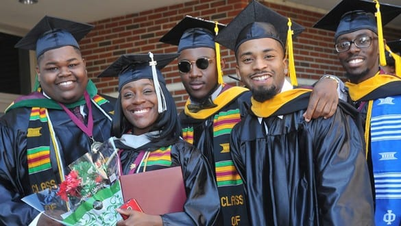 Group shot of Bethune Cookman graduates in caps and gowns
