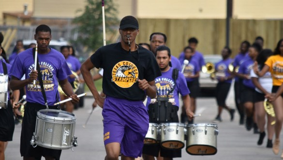 Texas College drummers marching
