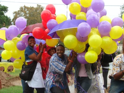 Group shot of students with balloons at Texas College