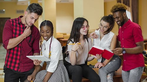 Hero image of students studying