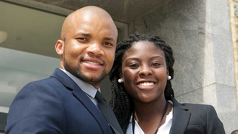 Two college students attending UNCF student leadership conference