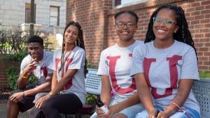 Virginia Union University students wearing matching school logo shirts