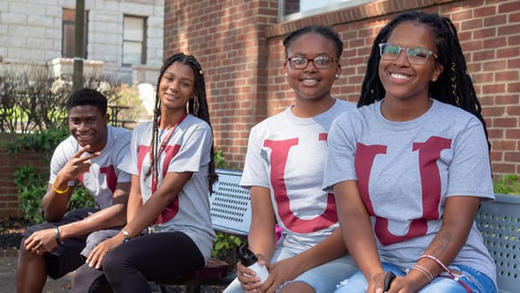 Virginia Union University students wearing matching school logo shirts
